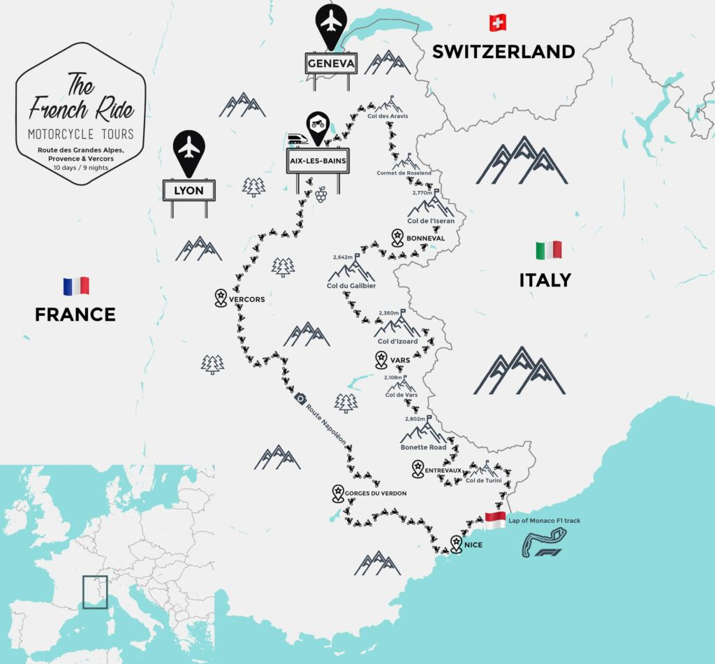 best motorcycle road in france, french alps and europe