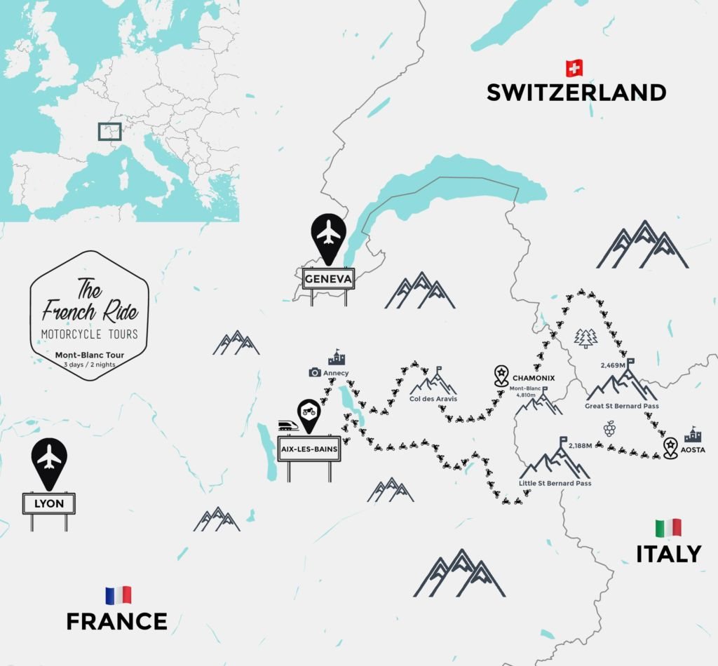 motorcycle rental in the alps, france, switzerland and italy