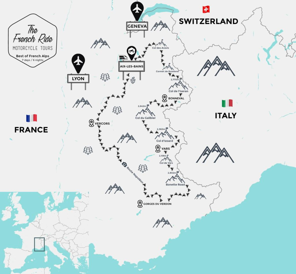 best motorcycle road in france and french alps