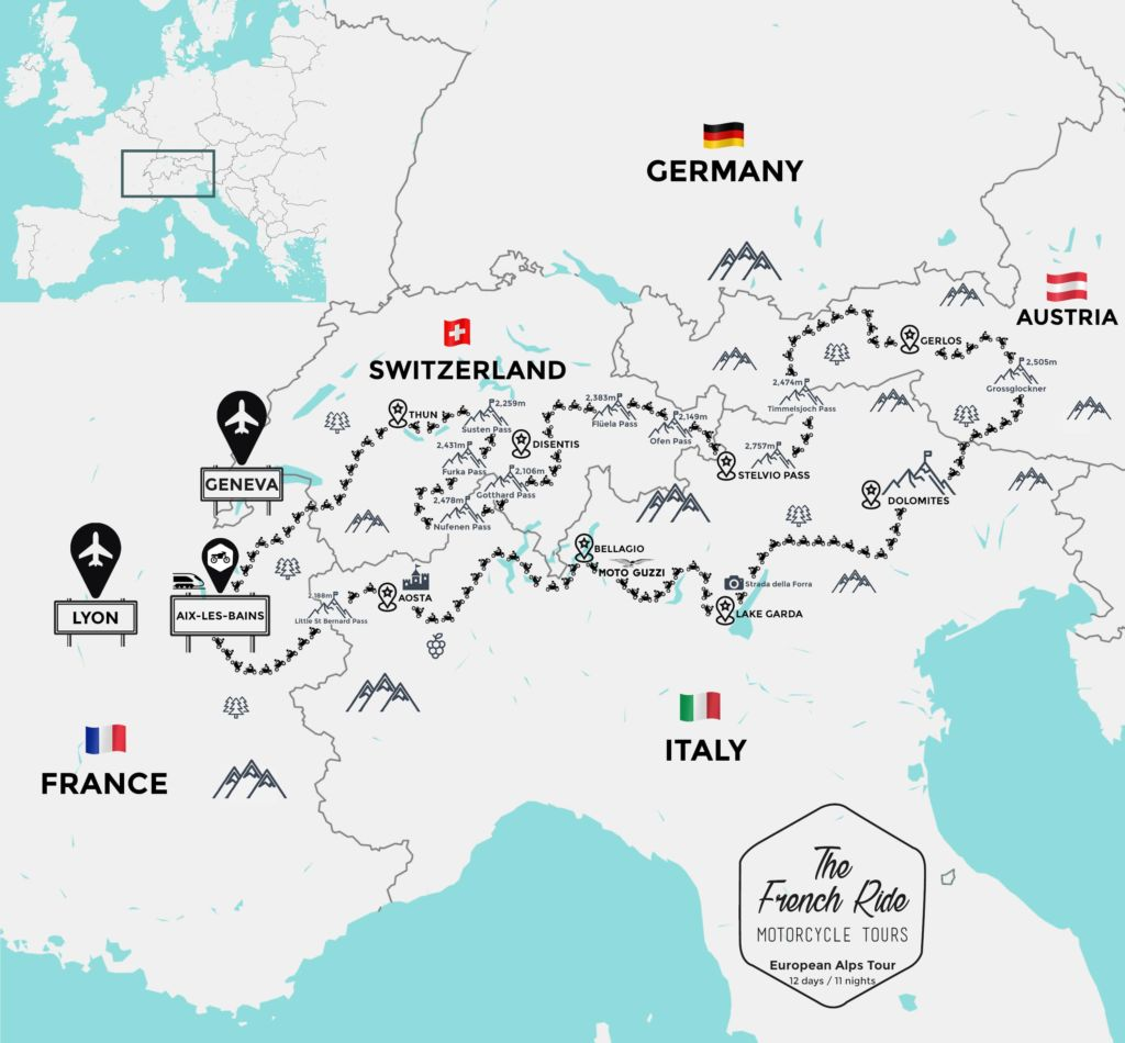 grand alps motorcycle tour around european alps
