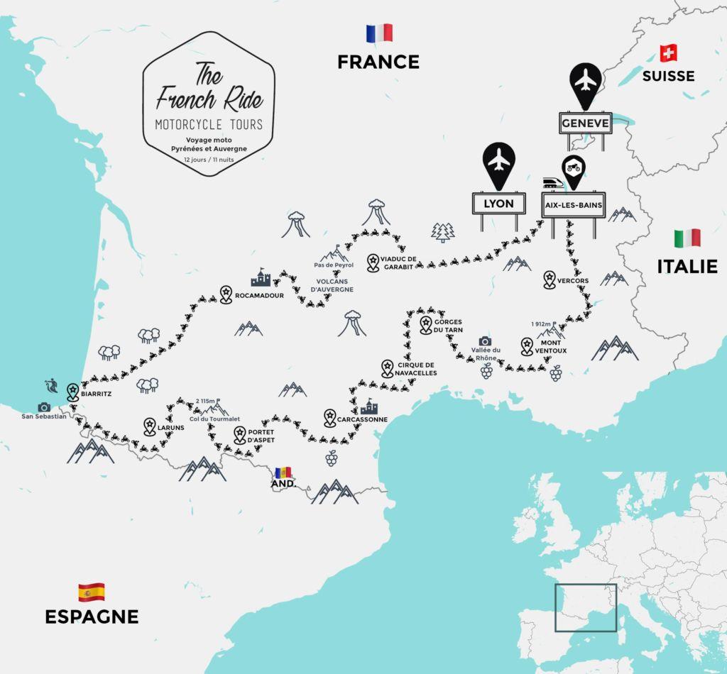voyage moto pyrenees et auvergne