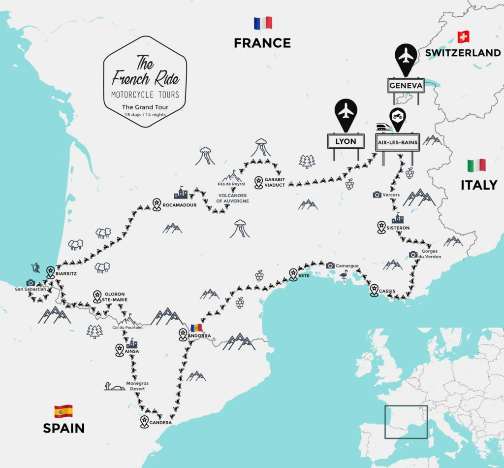 best motorcycle tour in france and spain in the pyrenees