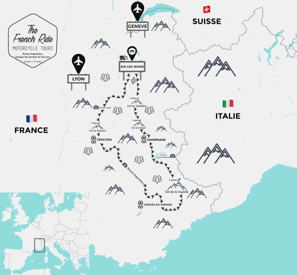 itineraire moto route napoleon carte