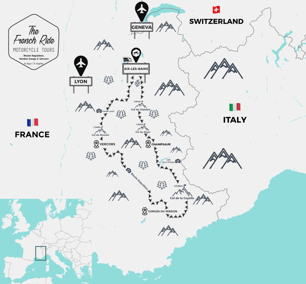 motorcycle tour map of the route napoleon