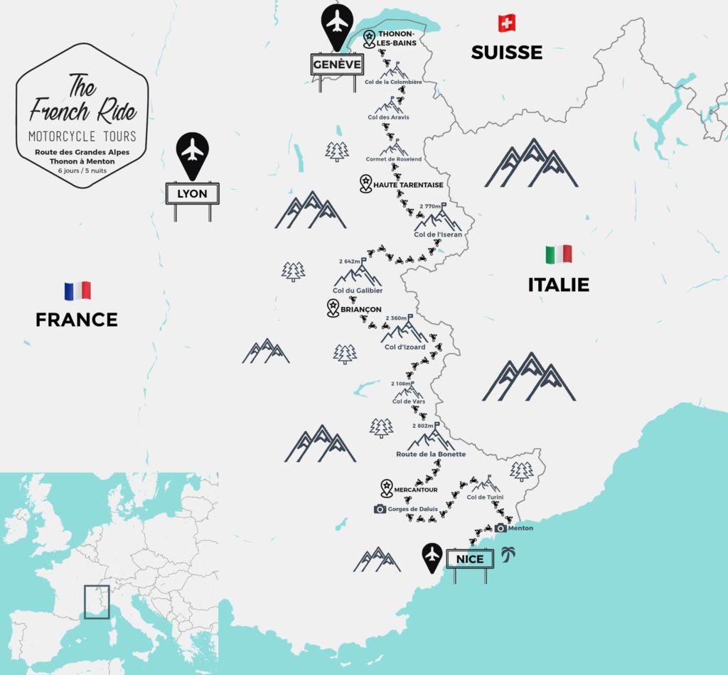 carte itinéraire moto de la route des grandes alpes