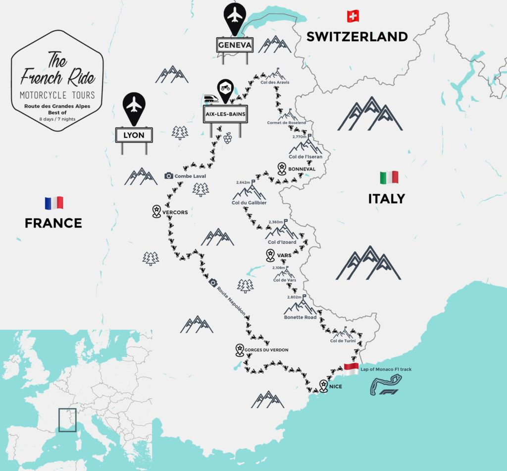 road map of the french alps