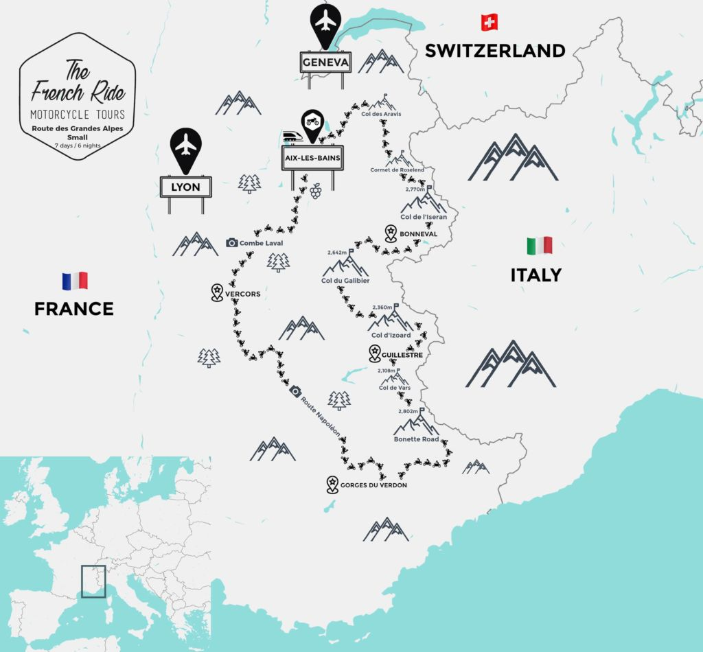 map of the route des grandes alpes by motorcycle