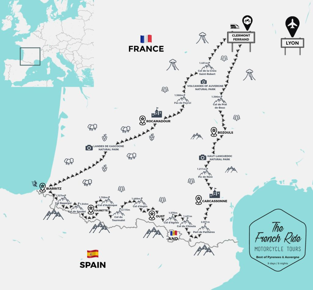 motorcycle road map of the pyrenees